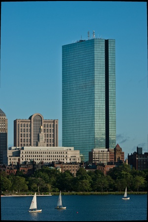 hancock building: A closeup view of Boston Massachusetts Copley Square from across the Charles River