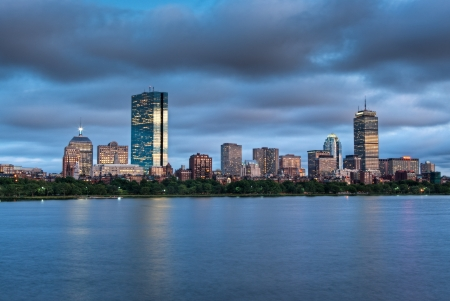 hancock building: A sunset view of Boston across the Charles River from Cambridge at Sunset
