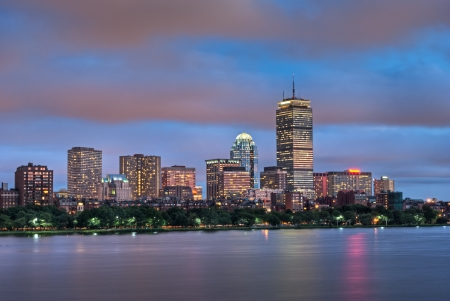 Night view of the Boston Skyline with brightly illuminated buildings Stock Photo - 14255458