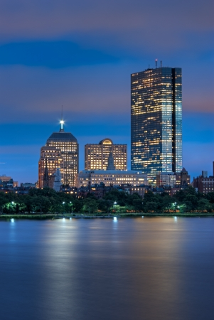 Night view of the Boston Skyline with brightly illuminated buildings Stock Photo - 14255454