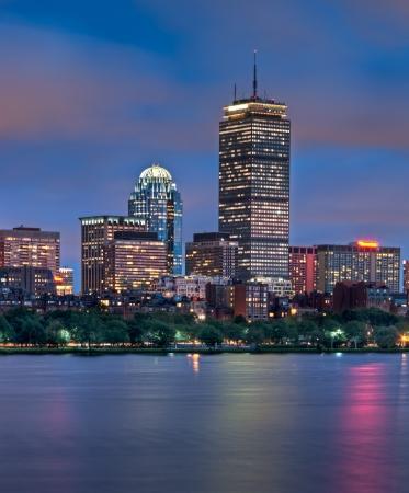 boston skyline: Night view of the Boston Skyline with brightly illuminated buildings
