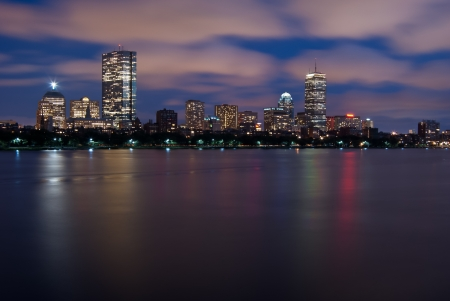 Night view of the Boston Skyline with brightly illuminated buildings Stock Photo - 14255453