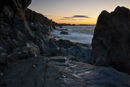 View along a rocky New England beach at sunrise Stock Photo - 20933326