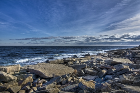 Rocky Massachusetts beach in winter with cold sky Stock Photo - 20933329