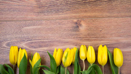 Bouquet of yellow tulips on a wooden background. Spring flowers. Mother's Day background.