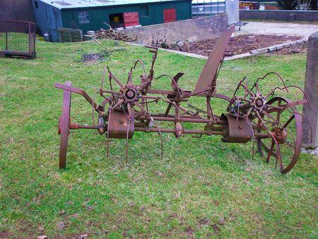 Horses drawn hay turner nicholson in Ireland for potatoes or corn