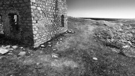 Ruins of an old stone building Rue point Rathlin Island Aerial photo Atlantic Ocean Co. Antrim N. Ireland