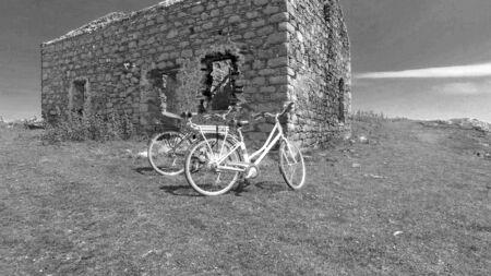 Ruins of an old stone building Rue point Rathlin Island Aerial photo Atlantic Ocean Co. Antrim N. Ireland Reklamní fotografie