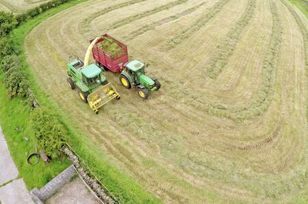 Silage contractors working grass