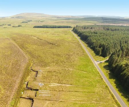 Turf Banks for Cutting Peat with a spade in a Moss Bog in Ireland