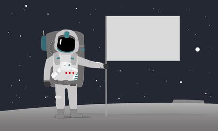 Astronaut With Flag Ilustração