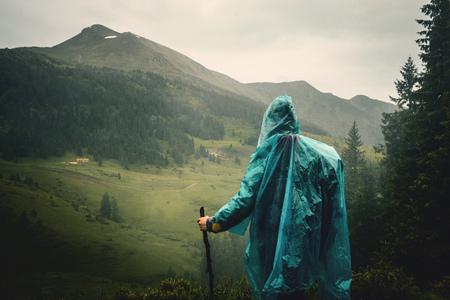 Tourist at Mountain Peak