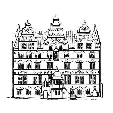 Jens Bangs Stenhus Aalborg Illustration, Denmark 向量圖像