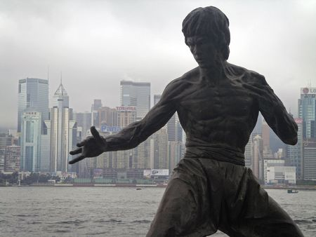 Victoria Harbour, Hong Kong, May 6 2010 - Bruce Lee statue at the Avenue Of Stars Boulevard