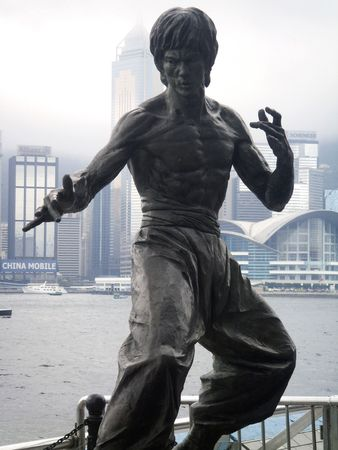 kungfu: Victoria Harbour, Hong Kong, May 6, 2010 - Bruce Lee statue at the Avenue Of Stars Boulevard