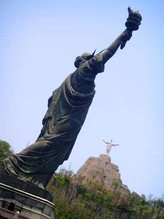 redeemer: Statue Of Liberty Christ The Redeemer Composite
