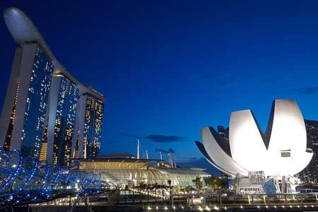 Evening twilight view of the Marina Bay Sands integrated resort by the Esplanade bay
