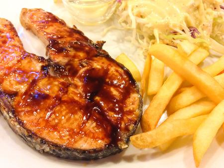 teriyaki: salmon steak,teriyaki sauce Stock Photo