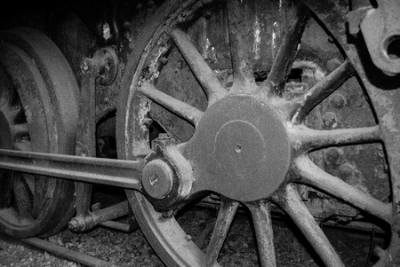 cam gear: old steam locomotive wheel and rods ,black and