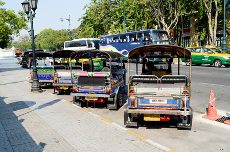 auto rickshaw: BANGKOK,THAILAND: 17 January 2015 :Tuk-tuk (three-wheeler or auto rickshaw), is a widely used for transport in Bangkok Editorial