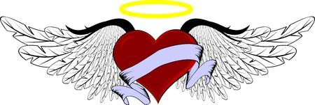 winged heart in vector format Reklamní fotografie - 5801728