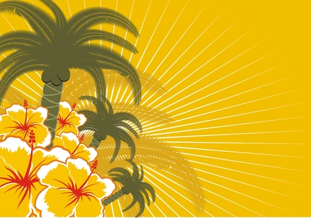 background with palms and flowers in vector format Vector
