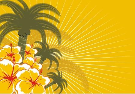 hintergr�nde: Hintergrund mit Palmen und Blumen im Vektorformat Illustration