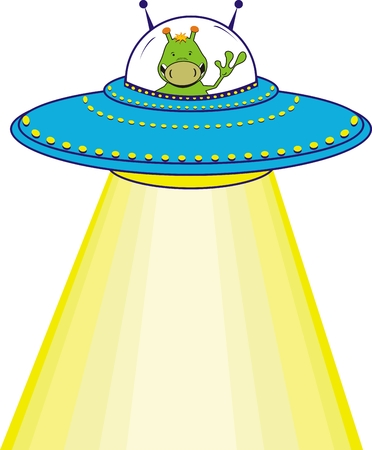 ufo: cartoon alien in vector format