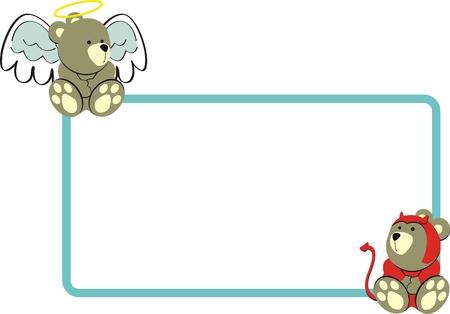 baby bear: teddy angel and teddy devil in vector format