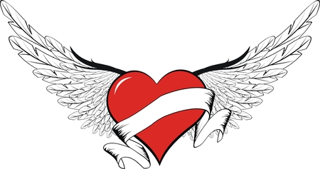 ribbons: winged heart in vector format