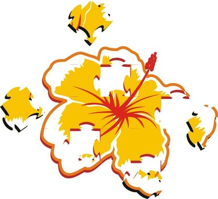 hibiscus puzzle in vector format Çizim