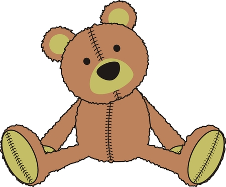 teddy bear in vector format Çizim