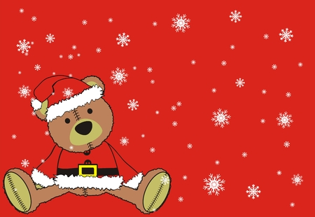festive background: teddy claus in vector format Illustration