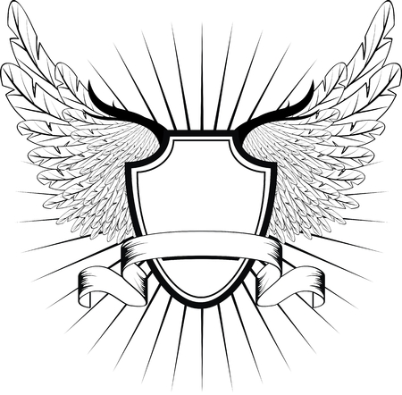 ribbons: winged shield in vector format very easy to edit