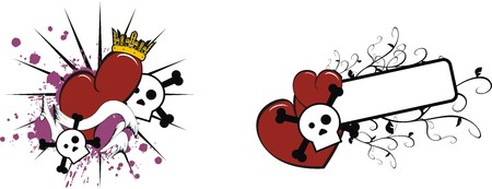 cicles: cartoon skull and heart