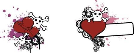 cartoon skull and heart Stock Vector - 7748879