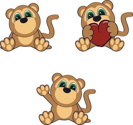 baby monkey: monkey baby cartoon   Illustration