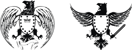 tattoo design: heraldic eagle set  Illustration