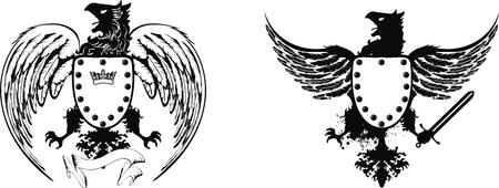 heraldic eagle set  Stock Illustratie