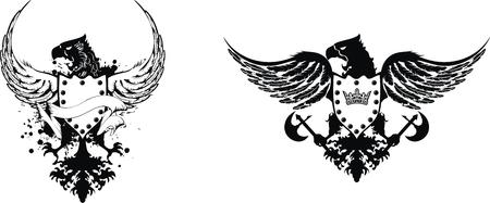 heraldic eagle set  Иллюстрация