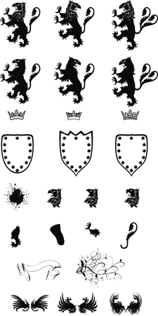 heraldic gryphon coat of arms set in vector format Ilustração