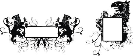 heraldic gryphon coat of arms set in vector format Ilustracja