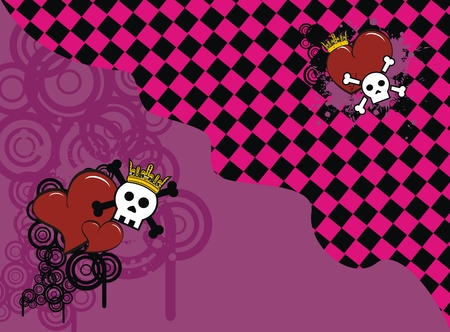 heart very: skull heart background in vector format very easy to edit