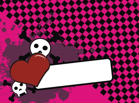 skull heart background in vector format very easy to edit