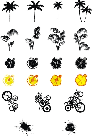 abstract flowers: hawaiian set in vector format very easy to edit