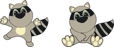 raccoon  cartoon set in vector format very easy to edit Vector