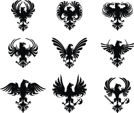 conjunto de escudo heráldico águila  Ilustración de vector
