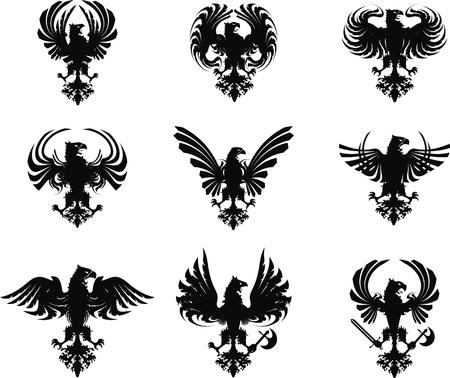 escudo de armas: conjunto de escudo her�ldico �guila  Vectores