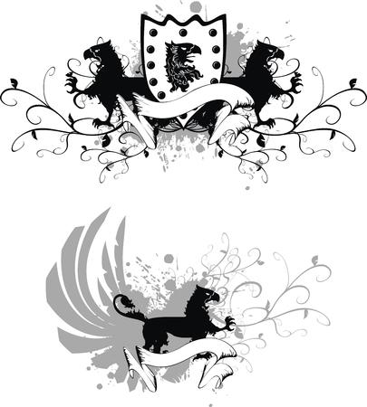 winged lion: conjunto de escudo her�ldico de grifo