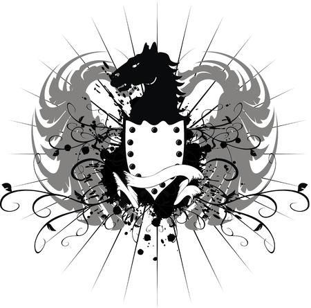 heraldic horse coat of arms Imagens - 8266068